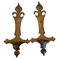 Sexton Black Cast Iron Wrought Iron Candle Wall Sconces Medieval Cross Look 1969 Pair
