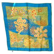 Totes Rain Scarf Bright Colors Abstract Floral Blue Yellow Green Orange