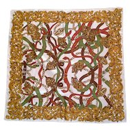 Equestrian Bridle Tack Printed Cream Scarf Green Red Brown Gold