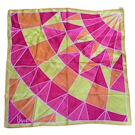 Vera Silk Blend Red Orange Yellow Geometric Pattern Silk Scarf