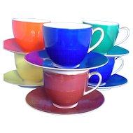 Porzellanfabrik Arzberg Bayern Porcelain Demitasse Set 5 Cups 5 Saucers Different Colors
