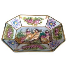 R Capodimonte Italy Small Dish Hand Painted Bas Relief People Flowers