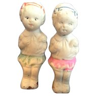 Frozen Charlotte Seated Bisque Dolls Girls Pair Japan Painted Clothes