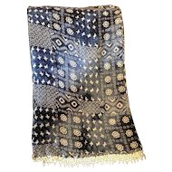 Blue Cream Long Chiffon Scarf Beaded Fringe Hems Rayon India