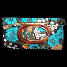 Lady's Pride Satin Tote Bag Purse Root Beer Lucite Oval Handle Blue Black Brown Floral