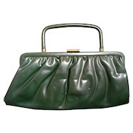 Garay Dark Green Vinyl Convertible Clutch Purse