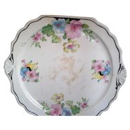 Harker Square Scalloped Tab Handle Cake Plate Blue Pink Yellow Flowers 1940s