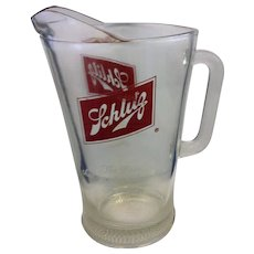 Schlitz Glass Pitcher The Beer that made Milwaukee Famous 60 oz Vintage