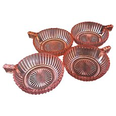 Queen Mary Prismatic Pink Depression Glass Hocking Fruit Dessert Handle Bowls Set of 4
