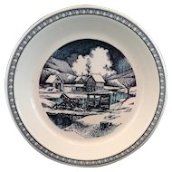 Watkins 1982 Over The River And Through The Woods Blue Transferware Pie Plate