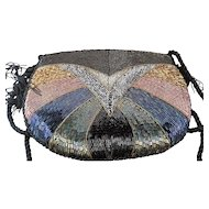 Beaded Evening Bag Multicolor Iridescent Bugle Beads on Black Satin