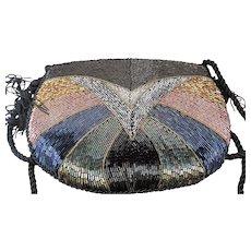 Beaded Evening Bag Multicolor Iridescent Bugle Beads on Black Satin