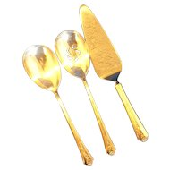 Holmes & Edwards Spring Garden Silverplate Serving Pieces Solid Casserole Spoon Pierced Spoon Pie Server