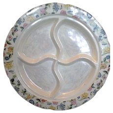 F&B Co  Meito China Japan Divided Relish Floral Border Pearlescent Center