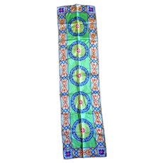 Lime Green Mosaic Stained Glass Look Silk Scarf Oblong