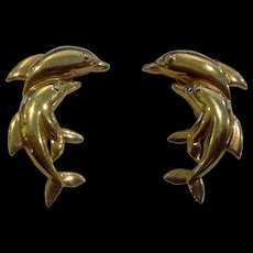 Dolphin Leaping Pairs Gold Tone Earrings Clips