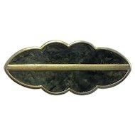 Monet Green Marbled Enamel Gold Tone Scalloped Bar Pin
