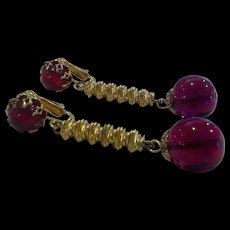 Castlecliff Dark Pink Red Glass Drop Earrings Gold Tone Twists
