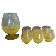 Blendo West Virginia Glass Yellow Martini Pitcher Tumblers Set