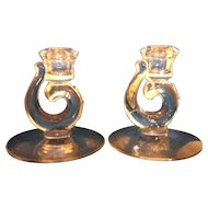 Fostoria Century Candle Holder Pair Single Light Tapers