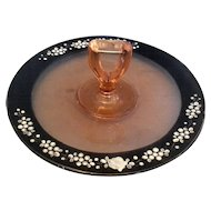 Pink Cambridge Glass Black White Enamel Hand Painted Rim Center Handle Tidbit Tray Server