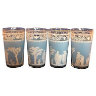 Jeannette Hellenic Blue Wedgwood Greek Style Optic Ribbed Glass Tumblers Set of 4 5 IN 10 Oz
