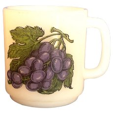 Glasbake Grapes Milk Glass Mug