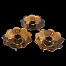 Fenton Black Amethyst Glass 3 Toed Candle Holders Petal Shape #848 Depression Glass