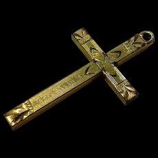 Engraved Gold Cross Pendant Religious 12K Gold Filled