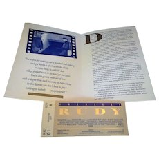 Rudy Movie Premiere Ticket Program 1993 Morris Civic Auditorium South Bend, IN