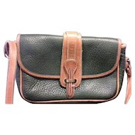 Dooney & Bourke Original Green All Weather Leather Equestrian Shoulder Bag Vintage