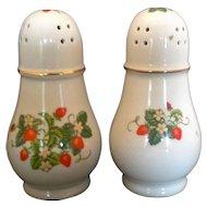 Vintage 1978 Avon Strawberries Big Porcelain Salt & Pepper Shakers 22k Gold Trim