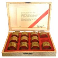 Spiegel Brass Napkin Ring Set of 11 in Box Vintage