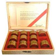 Spiegel Brass Napkin Ring Set of 11 in Box Vintage