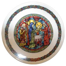 Porcelaine de Limoges Collector Plate Noel Vitrail La Purification Christmas Stained Glass