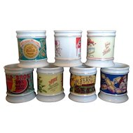 The Corner Store Vintage Advertising Porcelain Mugs Set of 7 Heinz Pinkham Ferry Carnation Clarks Hills Bros Gold Medal