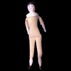 Hertwig & Co Germany Antique Low Brow Porcelain China Doll Cloth Body Small 6 IN