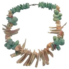 Pastel Dyed Shell Necklace Chunky Green Turquoise Pink