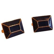 Deep Blue Beveled Rectangle Enamel Gold Tone Clip Earrings