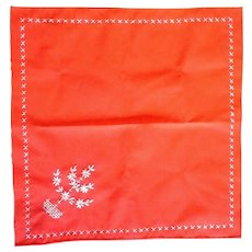 Red Ladies Handkerchief White Embroidery