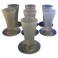 Tupperware 754 Gray Blue Parfait Sundae Glasses Set of 7