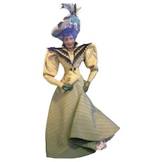 Elegant Lady Boudoir Doll 18 IN Silk Mask Face Green Yellow Dress Outfit