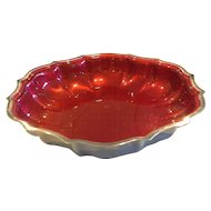 International Silver Chippendale Red Enamel Bon Bon Bowl Candy Dish