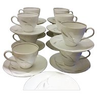 Johann Haviland Silver Wheat Cups & Saucers Set of 10