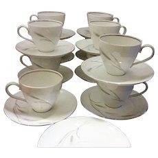 Johann Haviland Silver Wheat Cups & Saucers Set of 10