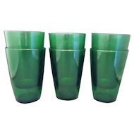 Anchor Hocking Forest Green 9 oz Tapered Flat Tumblers Set of 6