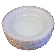 Golden Shell Milk Glass Anchor Hocking Fire King Soup Bowls Set of 7