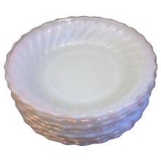 Golden Shell Milk Glass Anchor Hocking Fire King Soup Bowls Set of 7