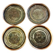LE Mason Boston Mass Harvard Copper Coasters