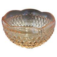 Indiana Glass Diamond Point Pink Bon Bon Bowl 3 Toed